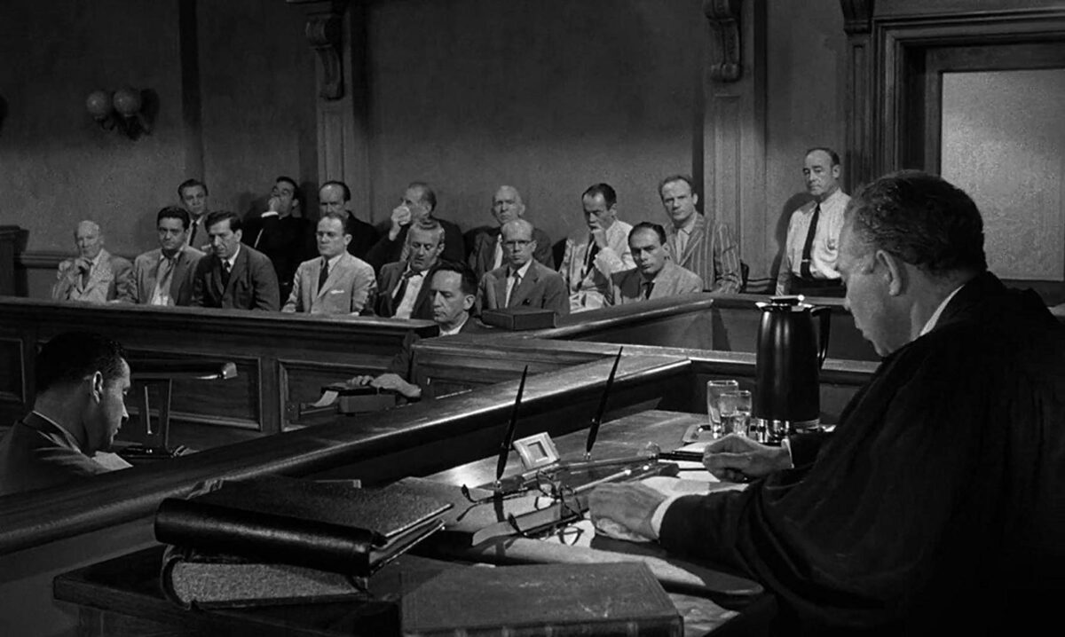a jury and judge in the courtroom