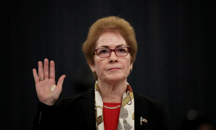 Former U.S. Ambassador to Ukraine Marie Yovanovitch is sworn in prior to providing testimony before the House Intelligence Committee in the Longworth House Office Building on Capitol Hill in Washington on Nov. 15, 2019. (Drew Angerer/Getty Images)