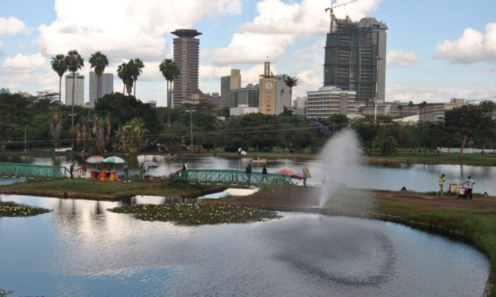 The artificial lake at Uhuru Park adjacent to the Nairobi Central Business District in Kenya on Nov. 13, 2019. Plans giving a Chinese company the go-ahead to build an elevated expressway through the park were shelved after a public outcry. (Dominic Kirui for The Epoch Times)