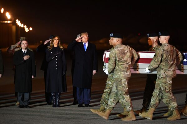 David Norquist, First Lady Melania Trump and President Donald Trump