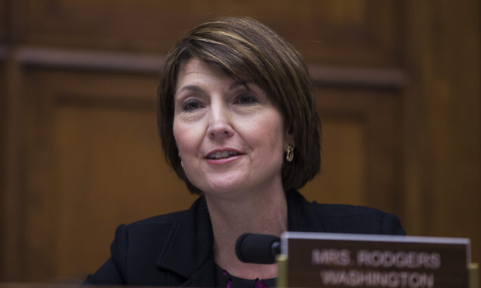 Rep. Cathy McMorris Rodgers (R-Wash.) questions Washington Gov. Jay Inslee during a House Energy and Commerce Environment and Climate Change Subcommittee hearing on Capitol Hill in Washington, on April 2, 2019. (Zach Gibson/Getty Images)
