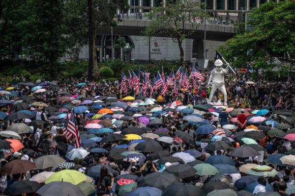 hong kong flag rally