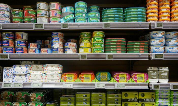 A file photo of canned tuna on a shelf in a supermarket. (Joenomias Menno de Jong/Pixabay)