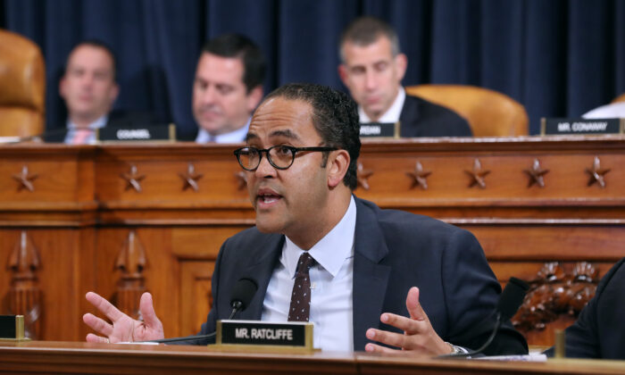 Rep. Will Hurd (R-Texas) makes a statement about impeachment in Washington on Nov. 21, 2019. (Samuel Corum - Pool/Getty Images)