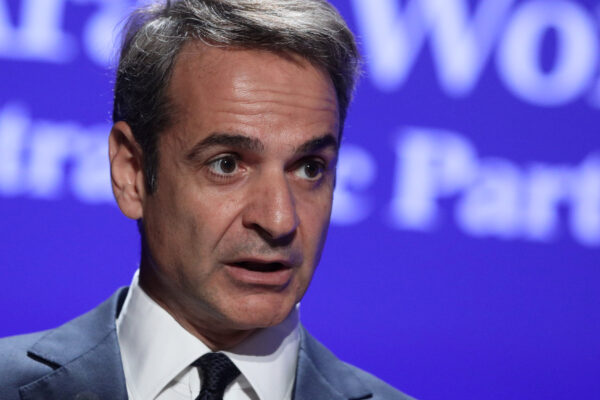 Greek Prime Minister Kyriakos Mitsotakis delivers a speech during the 4th EU-Arab World Summit in Athens, Greece, October 29, 2019. (Costas Baltas/Reuters/File Photo)