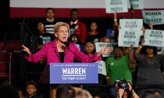 Democratic presidential candidate Sen. Elizabeth Warren (D-Mass.) speaks at a campaign event at Clark Atlanta University in Atlanta on Nov. 21, 2019. (Elijah Nouvelage/Getty Images)