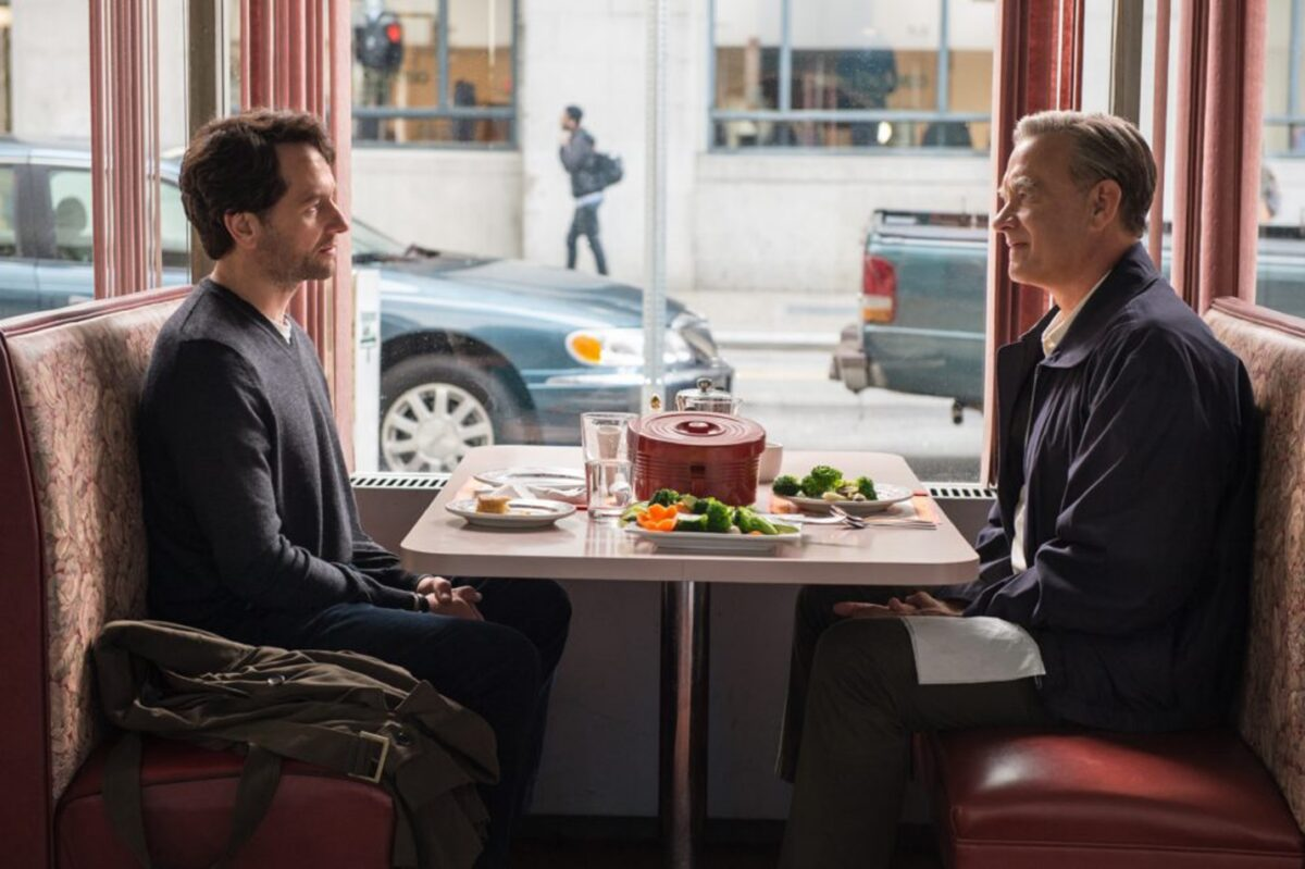 Matthew Rys and Tom Hanks in a diner