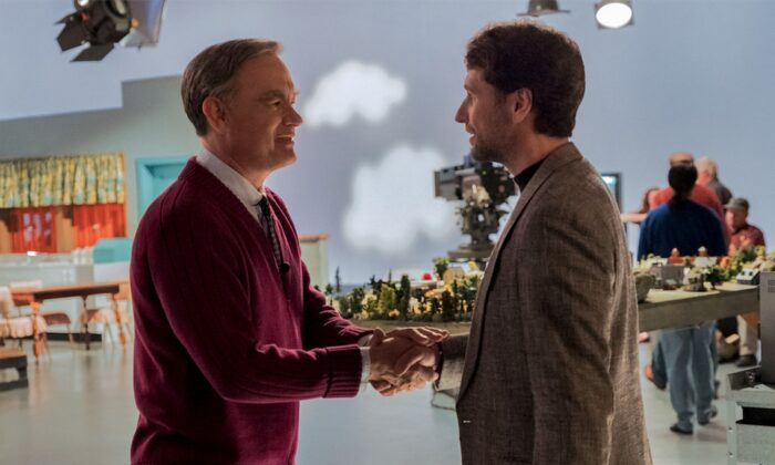 "Mister Fred Rogers (Tom Hanks, L) and Lloyd Vogel (Matthew Rhys), in ""A Beautiful Day in the Neighborhood."" (Sony Pictures)"