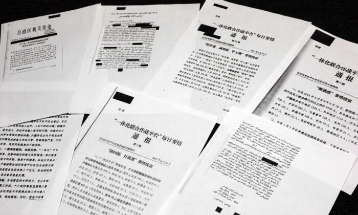 A sample of classified Chinese government documents leaked to a consortium of news organizations, is displayed for a picture in New York, on Nov. 22, 2019. Beijing has detained more than a million Uyghurs, ethnic Kazakhs and other Muslim minorities for what it calls voluntary job training. (Richard Drew/AP)