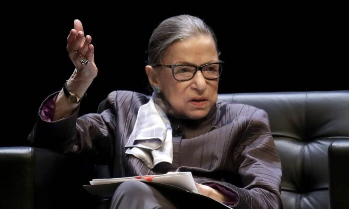 U.S. Supreme Court Justice Ruth Bader Ginsburg gestures while speaking during the inaugural Herma Hill Kay Memorial Lecture at the University of California at Berkeley, in Berkeley, Calif., on Oct. 21, 2019. (Jeff Chiu/AP Photo)