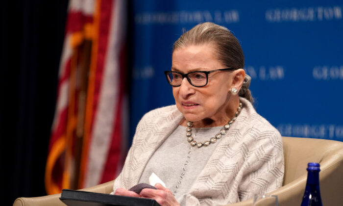 U.S. Supreme Court Justice Ruth Bader Ginsburg participates in a discussion hosted by the Georgetown University Law Center in Washington on Sept. 12, 2019. (Sarah Silbiger/Reuters)