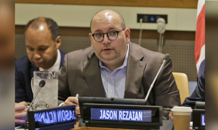 Washington Post journalist Jason Rezaian participates in a panel discussion on media freedom at United Nations headquarters. A U.S. federal judge on Friday, Sept. 25, 2019. (Seth Wenig/AP Photo)