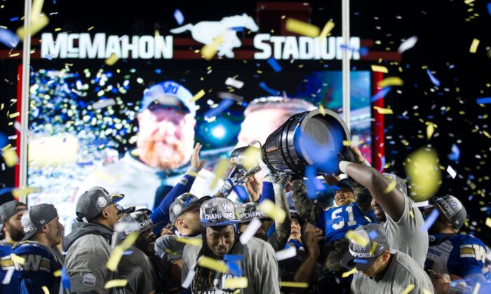 The Winnipeg Blue Bombers celebrate winning the 107th Grey Cup against the Hamilton Tiger Cats in Calgary on Nov. 24, 2019.  (The Canadian Press/Todd Korol)