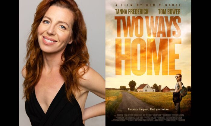 Actress and producer Tanna Frederick with the poster for the film Two Ways Home. (Courtesy Tanna Frederick)