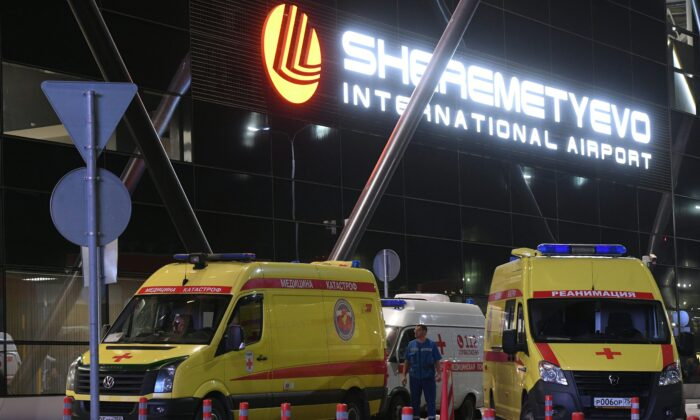 Ambulances are parked in front of the terminal building of the Sheremetyevo Airport outside Moscow after an emergency landing on May 5, 2019. (Kirill Kudryavtsev/AFP via Getty Images)