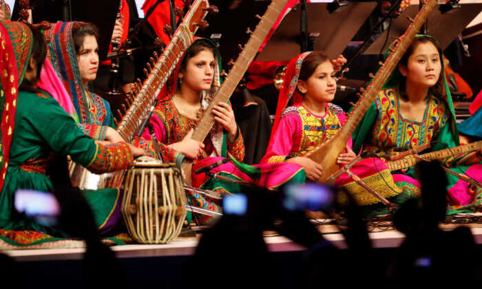 The Afghan Woman Orchestra Zohra performs during the closing session of the World Economic Forum (WEF) annual meeting in Davos, Switzerland Jan. 20, 2017.  (Ruben Sprich/Reuters)