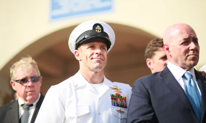Navy Special Operations Chief Edward Gallagher after being acquitted of premediated murder in San Diego, California on July 2, 2019. (Sandy Huffaker/Getty Images)