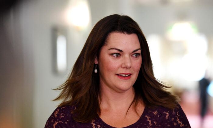 Senator Sarah Hanson-Young reacts during a press conference after winning her defamation case against against former Senator David Leyonhjelm today in the Senate at Parliament House on Nov. 25, 2019 in Canberra, Australia. (Tracey Nearmy/Getty Images)
