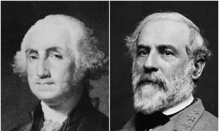 Portrait of George Washington (L) and Robert E. Lee (R). (Library of Congress)