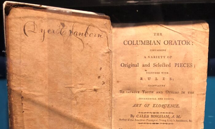 "Frederick Douglass's copy of 1812 edition of ""The Columbian Orator,"" compiled by Caleb Bingham. (CC BY-SA 4.0)"