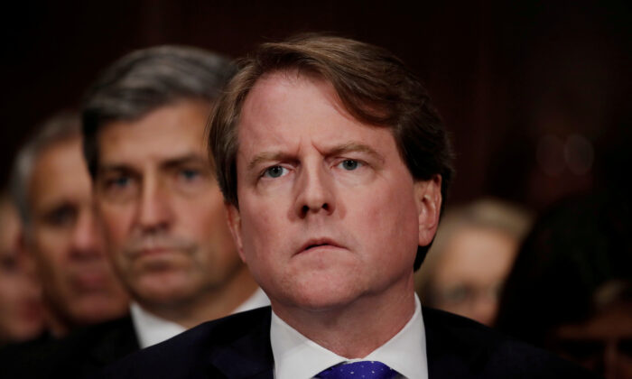 White House counsel Don McGahn listens to U.S. Supreme Court nominee Brett Kavanaugh testify before a Senate Judiciary Committee confirmation hearing on Capitol Hill in Washington on Sept. 27, 2018. (Jim Bourg/Reuters)