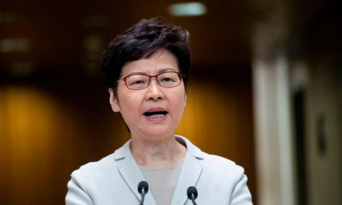 Hong Kong leader Carrie Lam speaks during a press conference in Hong Kong on Nov. 26, 2019. (Nicolas Asfouri/AFP via Getty Images)