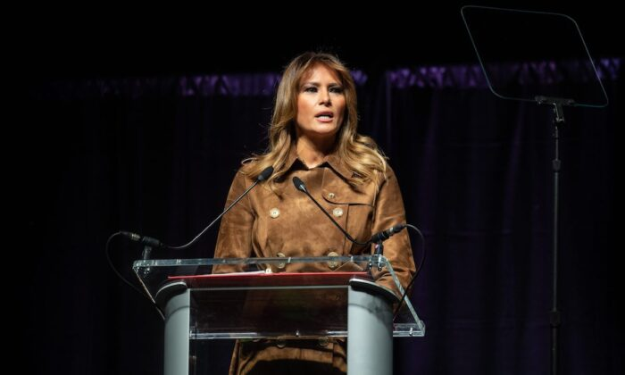 First Lady Melania Trump addresses the B'More Youth Summit in Baltimore, Maryland, on Nov. 26, 2019. (NICHOLAS KAMM/AFP via Getty Images)