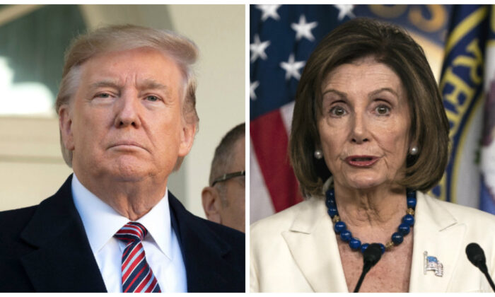 President Donald Trump (L) speaks at the White House on Nov. 25, 2019. (Jim Watson/AFP via Getty Images); House Speaker Nancy Pelosi (D-Calif.) speaks to the media during her weekly press conference at the U.S. Capitol in Washington on Nov. 21, 2019. (Alex Edelman/Getty Images)