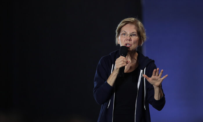 Democratic presidential candidate Sen. Elizabeth Warren (D-Mass.) speaks to a crowd during a campaign stop at the Val Air Ballroom in West Des Moines, Iowa on Nov. 25, 2019. (Scott Olson/Getty Images)