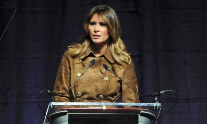 First lady Melania Trump speaks at the B'More Youth Summit at UMBC in Baltimore on Nov. 26, 2019. (Barbara Haddock Taylor/The Baltimore Sun via AP)