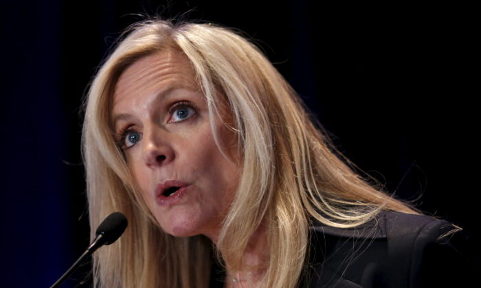 Federal Reserve Governor Lael Brainard delivers remarks at the Fed's ninth biennial Community Development Research Conference in Washington on April 2, 2015. (Yuri Gripas/File Photo/Reuters)