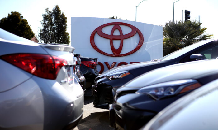 Brand new Toyota cars are displayed on a sales lot in Oakland, Calif., on Feb. 6, 2019. (Justin Sullivan/Getty Images)