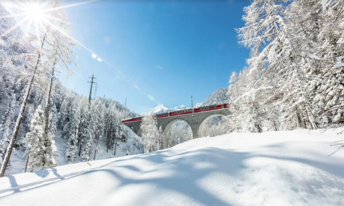The Bernina Express on the Albula viaduct. (Rhaetian Railway)