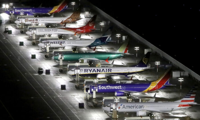 Aerial photos showing Boeing 737 Max airplanes parked at Boeing Field in Seattle, Washington, on Oct. 20, 2019. (Reuters/Gary He)