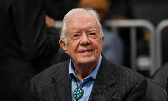 Former President Jimmy Carter at a basketball game in Atlanta, Georgia, on Feb. 14, 2019. (Dale Zanine-USA TODAY Sports)
