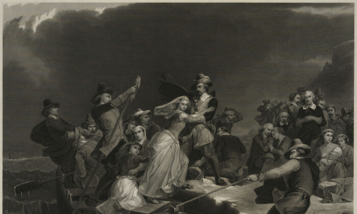 """Landing of the Pilgrims on Plymouth Rock, 1620,"" engraving by Joseph Andrews, circa 1869. (Public domain)"