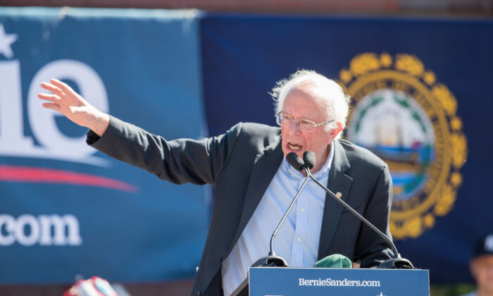 Democratic presidential candidate, Sen. Bernie Sanders (I-Vt.) speaks during his event at Plymouth State University in Plymouth, New Hampshire in a Sept. 29, 2019, file photograph. (Scott Eisen/Getty Images)