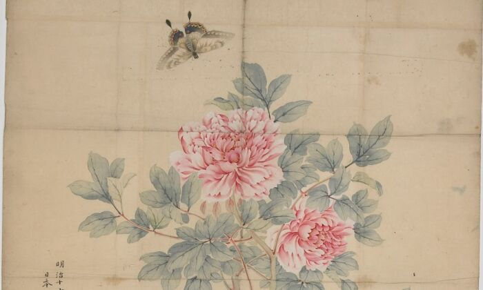 """""""Bush Peonies"""" by Taki Katei. Paper, pigment, and ink; 56 7/8 inches by 23 1/4 inches.  (Keith Sweeney/National Museums Liverpool)"""