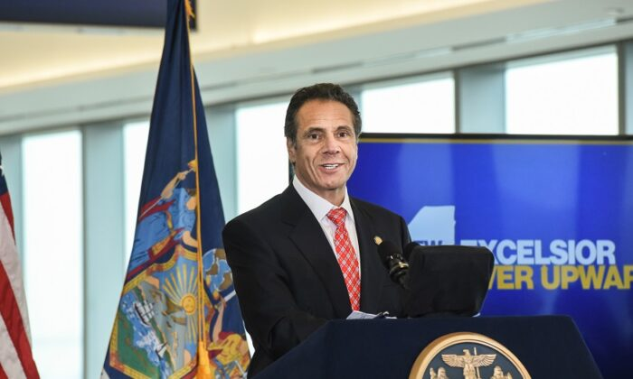 Andrew Cuomo, Governor of New York, speaks at LaGuardia Airport in New York City on Oct. 29, 2019. (Stephanie Keith/Getty Images)