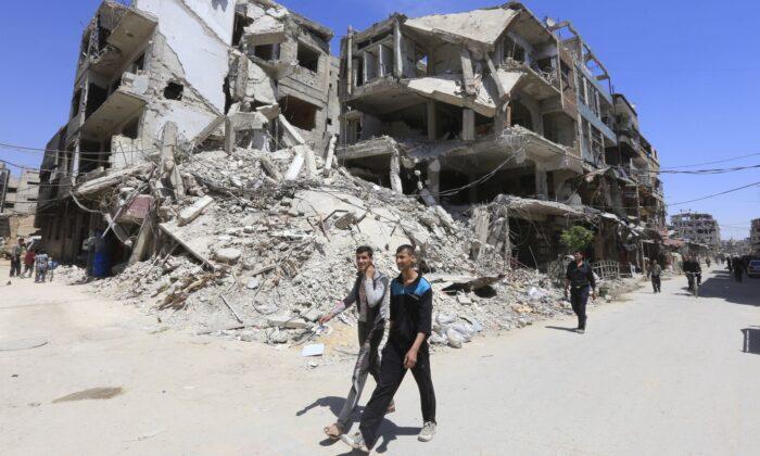 Douma on the outskirts of Damascus on April 16, 2018. (Louai Beshara/AFP via Getty Images)