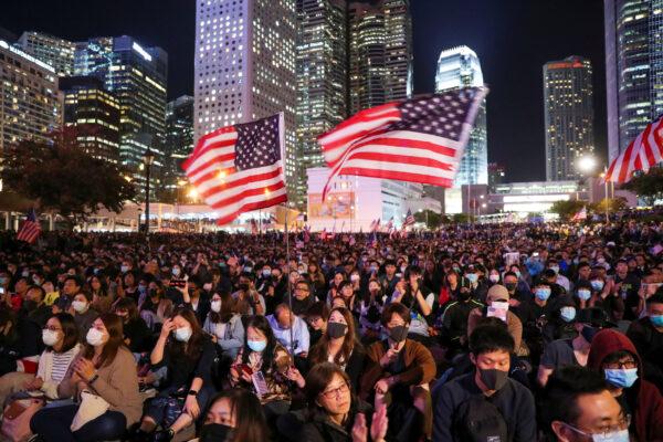 Protestors wave U.S. flags