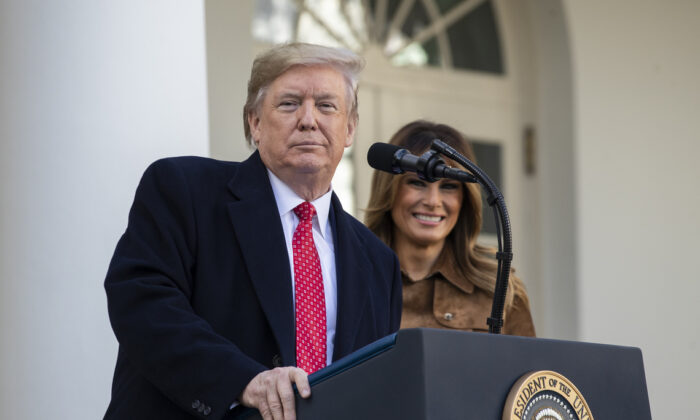 With First Lady Melania Trump looking on, President Donald Trump speaks before giving the National Thanksgiving Turkey Butter a presidential pardon in the Rose Garden of the White House on Nov. 26, 2019.  (Drew Angerer/Getty Images)