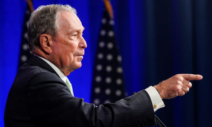 Democratic presidential candidate Michael Bloomberg addresses a news conference after launching his presidential bid in Norfolk, Virginia on Nov. 25, 2019. (Joshua Roberts/Reuters)