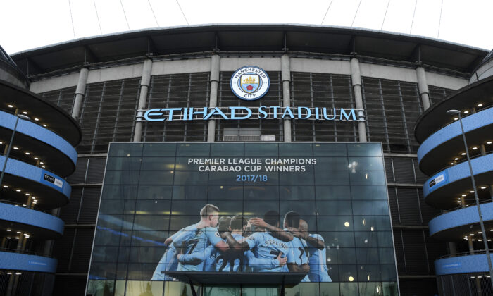 General view outside the stadium prior to the Premier League match between Manchester City and Brighton and Hove Albion at Etihad Stadium on May 9, 2018 in Manchester, England.  (Gareth Copley/Getty Images)