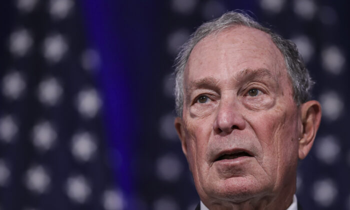Newly announced Democratic presidential candidate, former New York Mayor Michael Bloomberg, speaks during a press conference to discuss his presidential run in Norfolk, Virginia, on Nov. 25, 2019. (Drew Angerer/Getty Images)