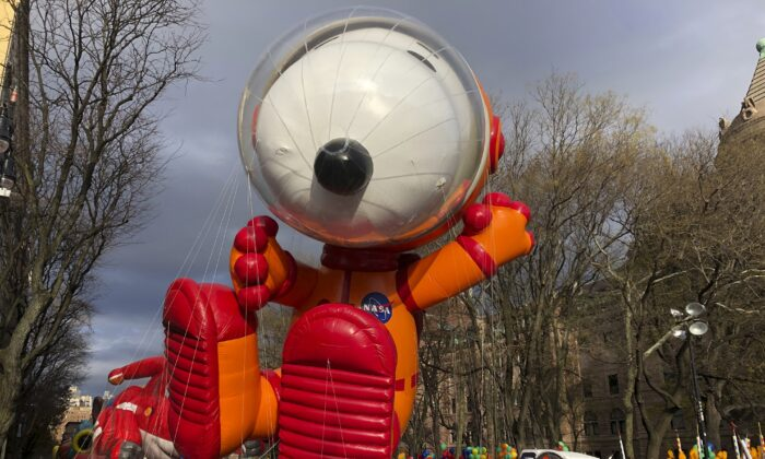 The Snoopy balloon is ready to go at the start of the Macy's Thanksgiving Day Parade in New York on Nov. 28, 2019. (Mark Lennihan/AP Photo)