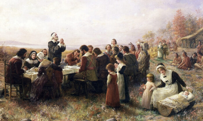 The First Thanksgiving at Plymouth, oil on canvas, by Jennie Augusta Brownscombe, 1914. (Public Domain)