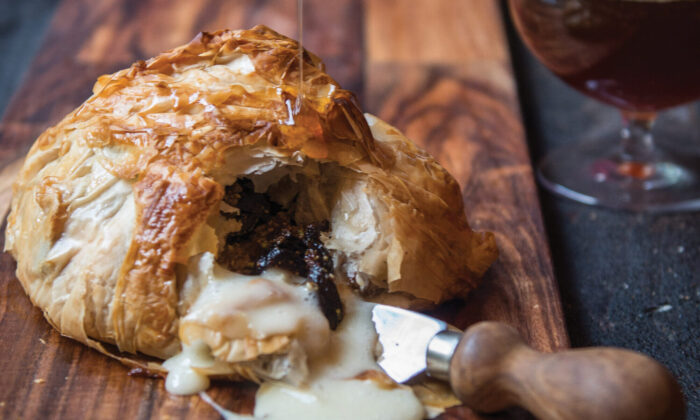 Brown ale baklava with baked brie and figs. (Jacquelyn Dodd)
