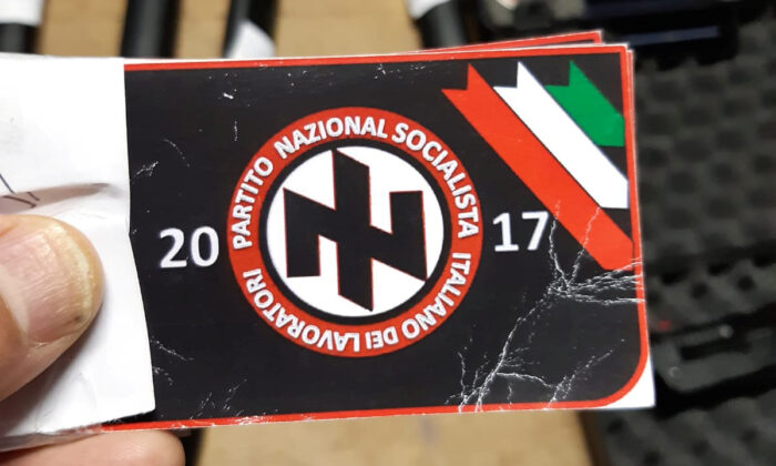 Italian police handout shows a sticker with the symbol of the 'Italian National Socialist Workers' Party' that they say was seized in searches of properties of an extremist group who planned to create a new Nazi party, in an unidentified location in Italy in a picture released on Nov. 28, 2019. (Polizia di Stato/Handout via Reuters)