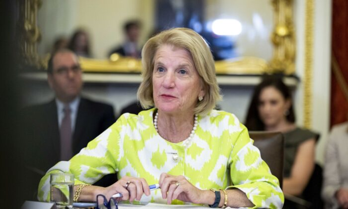 "Senator Shelley Moore Capito (R-W.Va.), speaks during a roundtable discussion with the Senate Foreign Relations Subcommittee on the U.S. strategy for implementing the The Women, Peace, and Security Act,"" on Capitol Hill in Washington, on June 11, 2019. (Anna Moneymaker/Getty Images)"